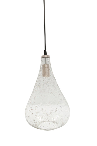 Lustre Teardrop - Clear - Stone Effect Glass Bell Pendant Light