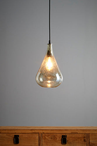 Lustre Teardrop - Pale Green - Stone Effect Glass Bell Pendant Light