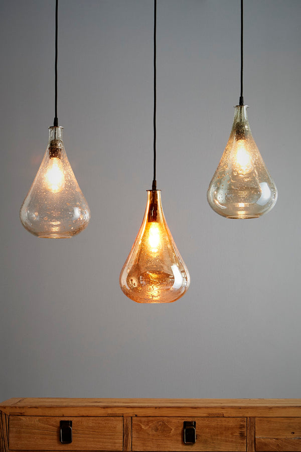 Lustre Teardrop - Pale Gold - Stone Effect Glass Bell Pendant Light