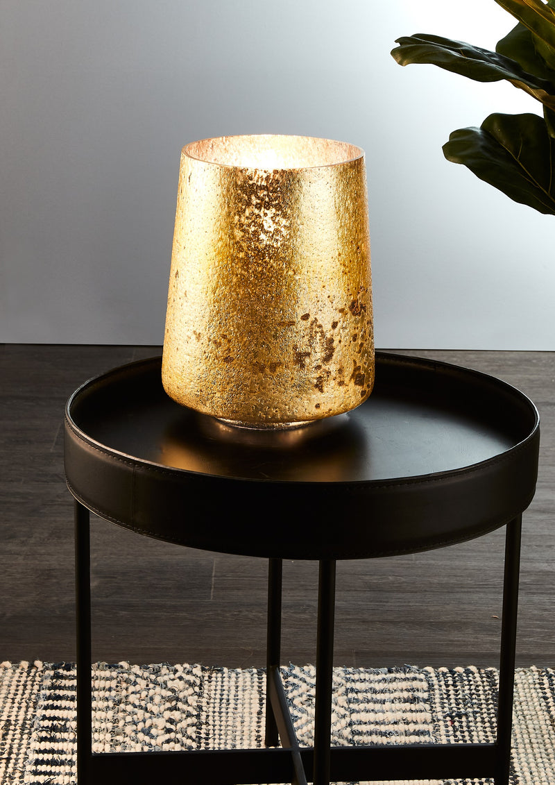 Montmartre - Gold - Small Cylinder Art Glass Table Lamp