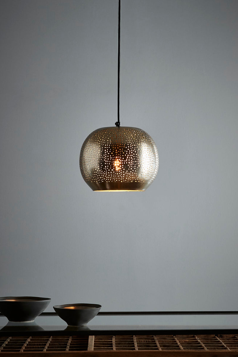 Mercury - Nickel - Perforated Ball Pendant Light