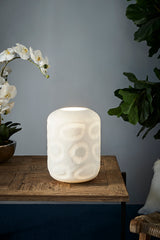 Monaco Small - White - Small Hand Cut Hurricane Art Glass Table Lamp