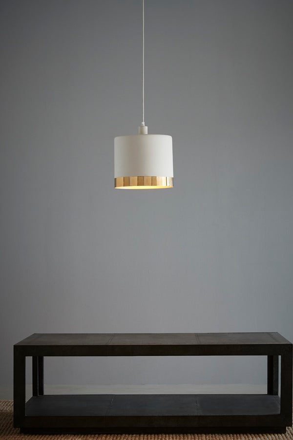 Montreux Large - White/Gold - 2 Tone Drum Pendant Light