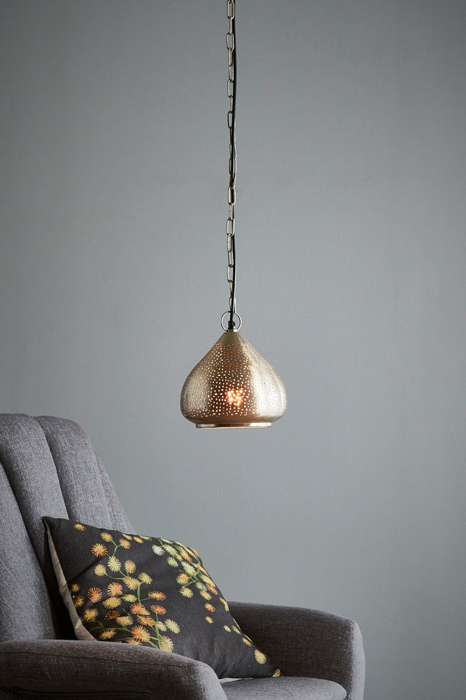 Neptune Small - Nickel - Perforated Raindrop Pendant Light
