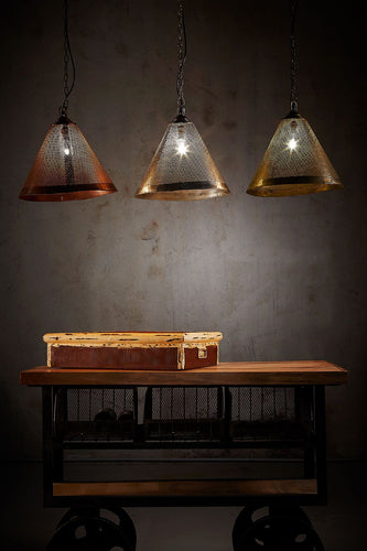 Nico - Rust - Perforated Iron Cone Pendant Light