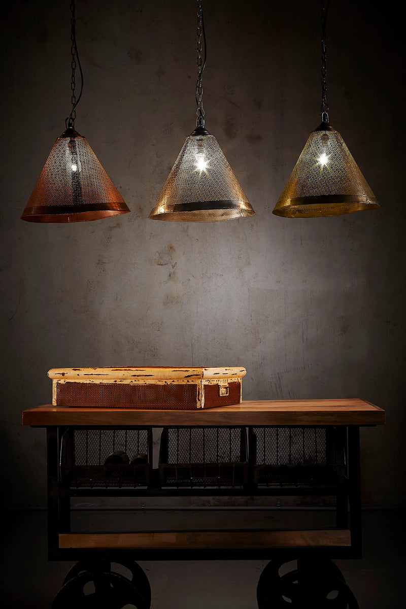 Nico - Antique Brass - Perforated Iron Cone Pendant Light