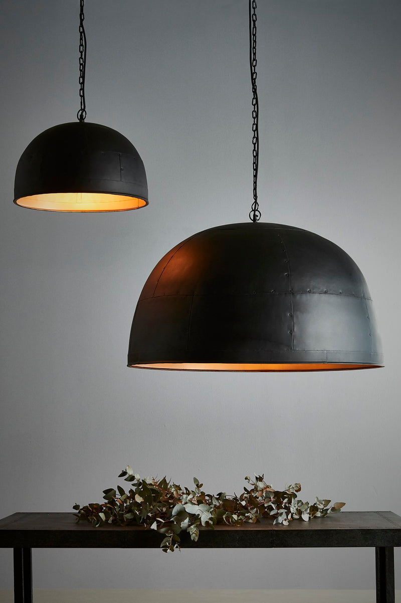 Noir Small - Black With Gold Interior - Small Iron Dome Pendant Light