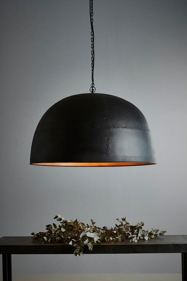 Noir Large - Black With Gold Interior - Extra Large Iron Dome Pendant Light