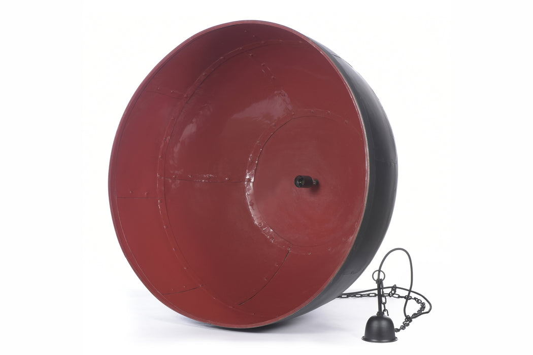 Noir Large - Black With Red Interior - Extra Large Iron Dome Pendant Light