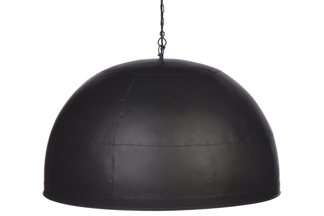 Noir Large - Black With White Interior - Extra Large Iron Dome Pendant Light