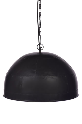 Noir Small - Black With Red Interior - Small Iron Dome Pendant Light