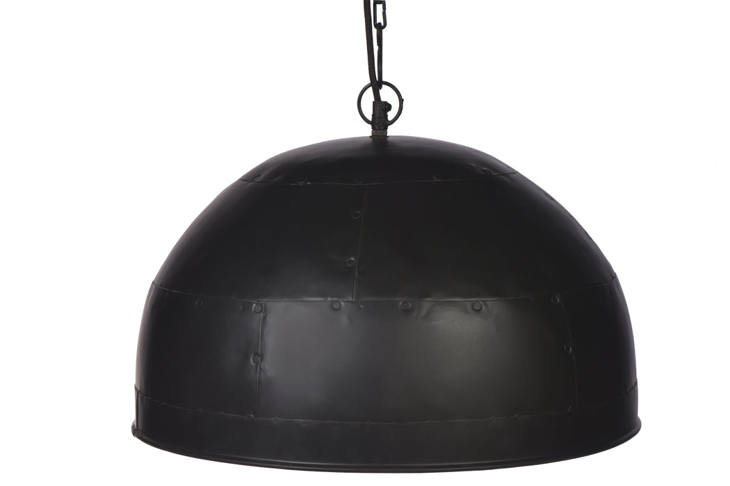 Noir Small - Black With White Interior - Small Iron Dome Pendant Light