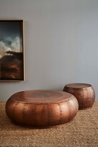 Omega Coffee Table - Antique Copper - Iron Riveted Coffee Table