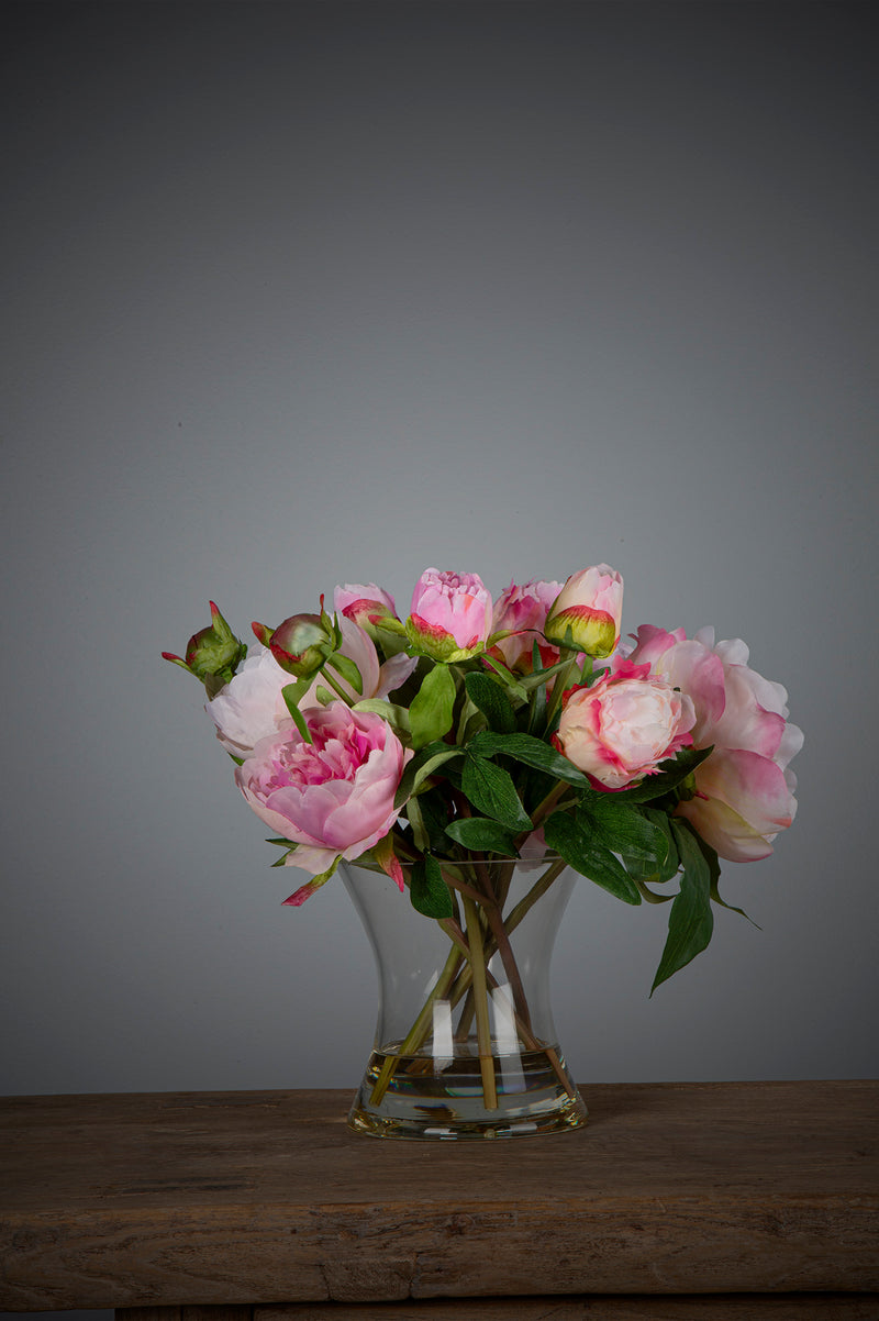 Peony - Dark Pink - 30cm Tall Artificial Flowers in Water in Glass Vase
