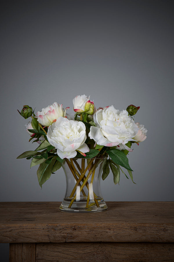 Peony - White - 30cm Tall Artificial Flowers in Water in Glass Vase