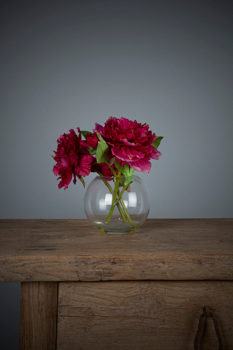 Peony - Fuchsia - 25cm Tall Artificial Flowers in Water in Glass Bowl