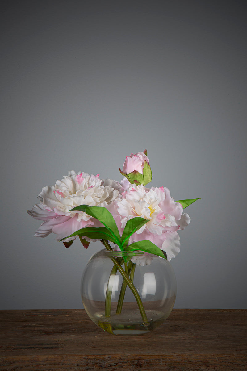 Peony - Light Pink - 25cm Tall Artificial Flowers in Water in Glass Bowl