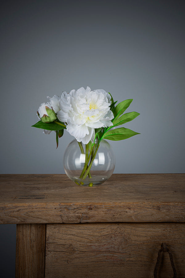 Peony - White - 25cm Tall Artificial Flowers in Water in Glass Bowl