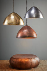 P51 Large - Antique Copper - Iron Riveted Dome Pendant Light