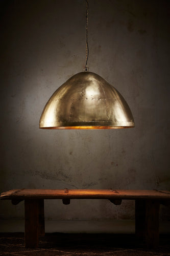 P51 Large - Antique Brass - Iron Riveted Dome Pendant Light