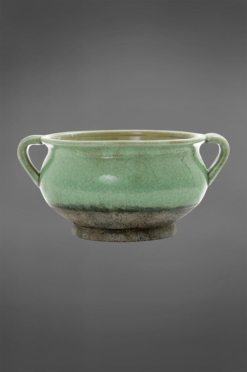 Verde Planter - Emerald/Grey - 17cm Tall Two-Tone Crackle Glazed Ceramic Planter with Handles