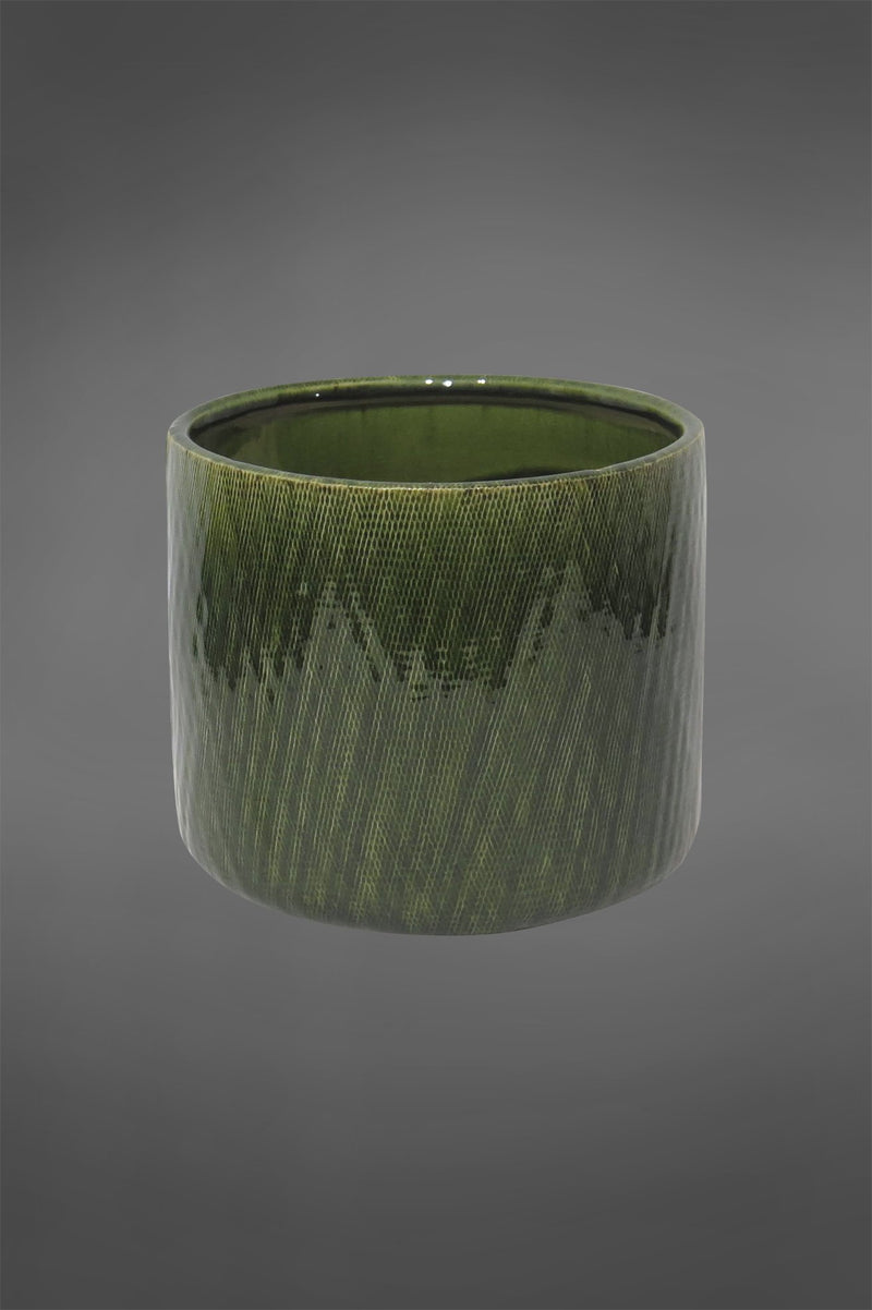 Lena Planter - Dark Green - 20cm Tall Patterned Glazed Ceramic Planter