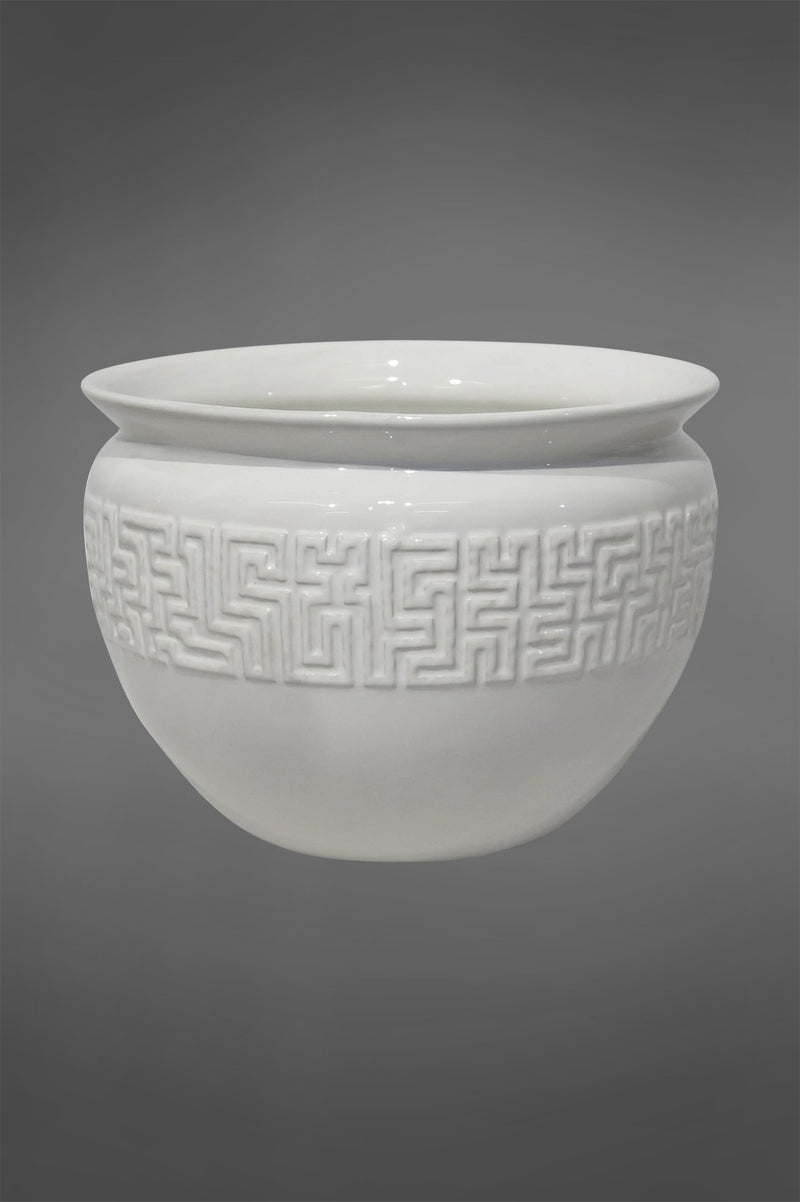 Lena Mayan Planter - White - 25cm Tall Glazed Ceramic Planter with Geometric Pattern
