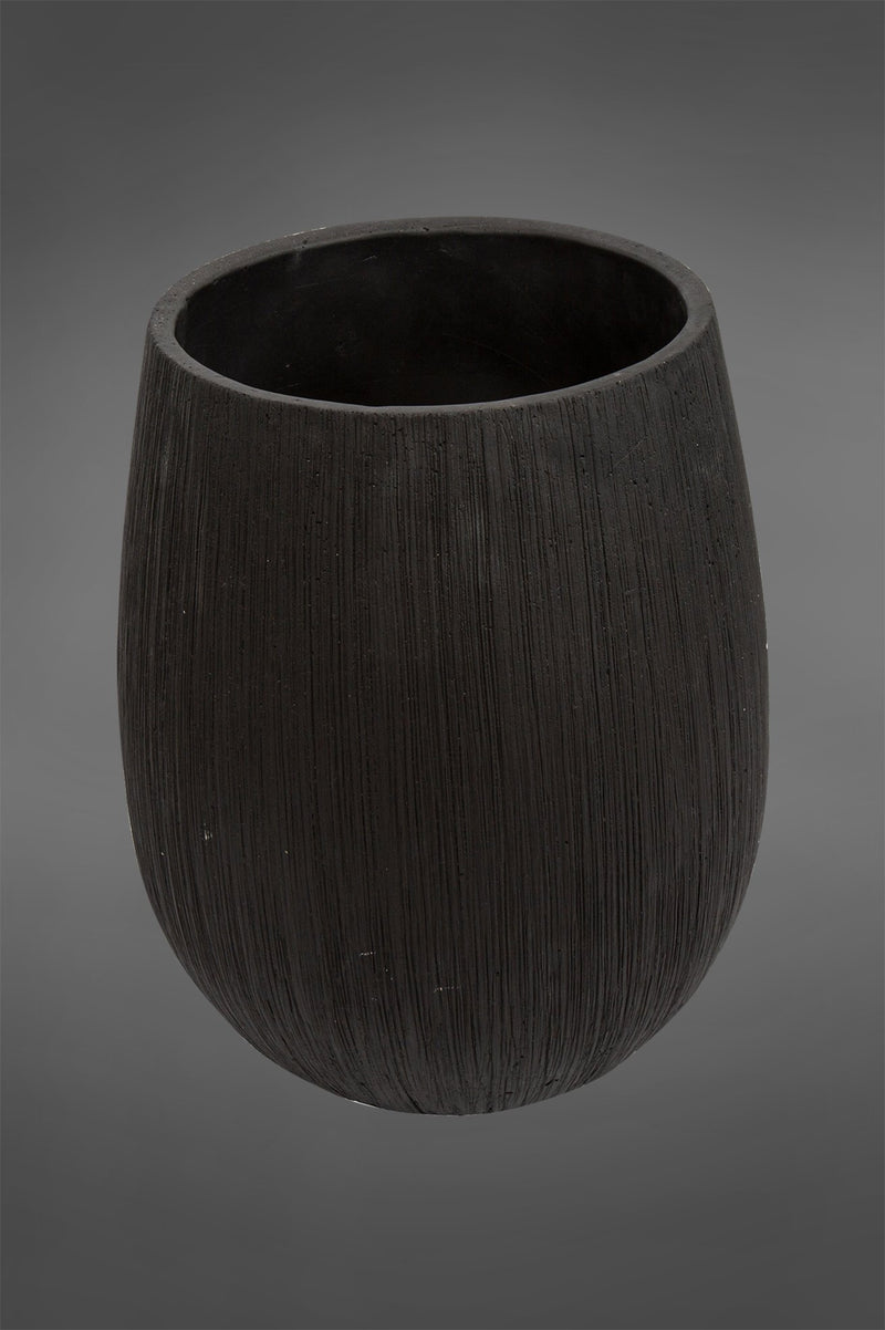 Swart Large - Black - 35cm Tall Textured Ceramic Pot