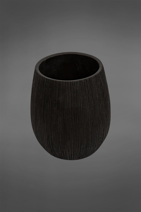 Swart Small - Black - 23cm Tall Textured Ceramic Pot