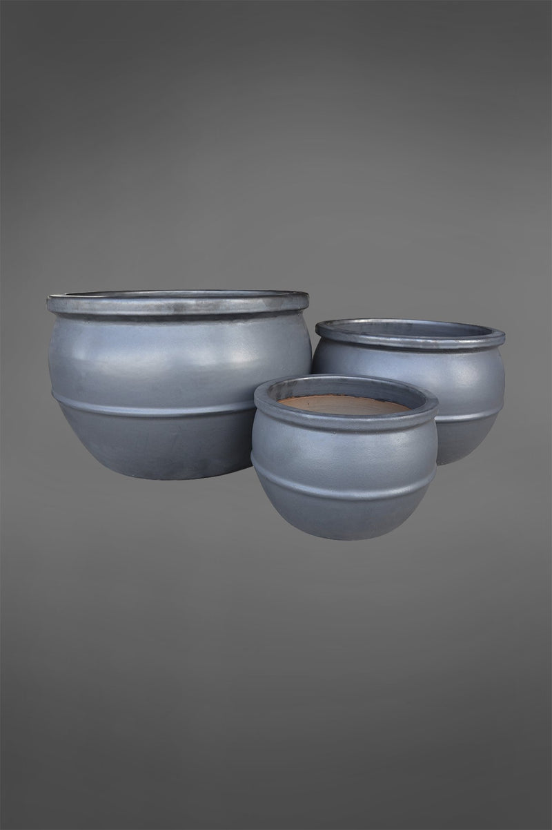 Ruen - Dark Grey - Set of 3 Glazed Ceramic Planters