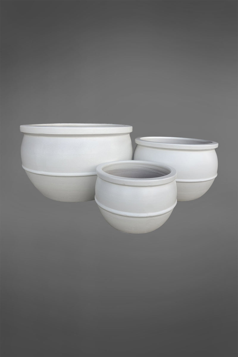 Ruen - White - Set of 3 Glazed Ceramic Planters