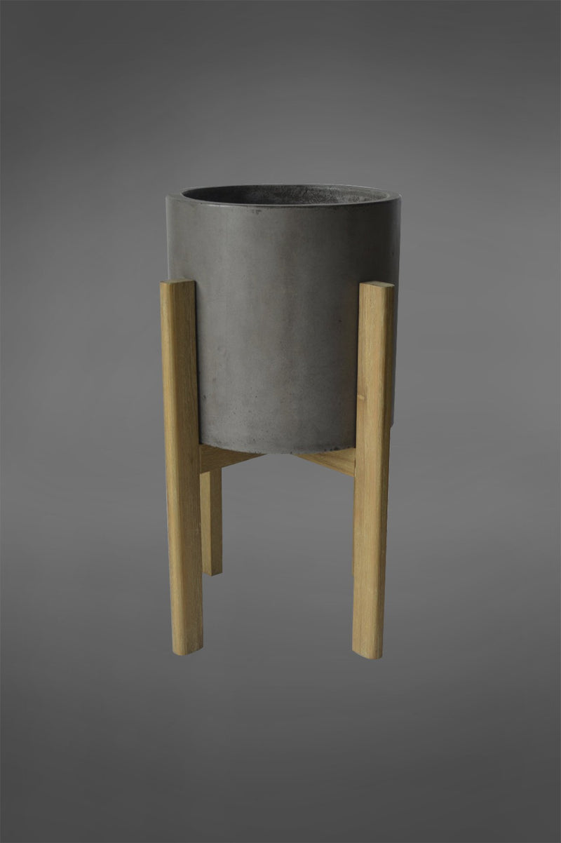 Tahoe - Grey/Natural - 55cm Tall Round Ceramic Planter on Wooden Legs Base