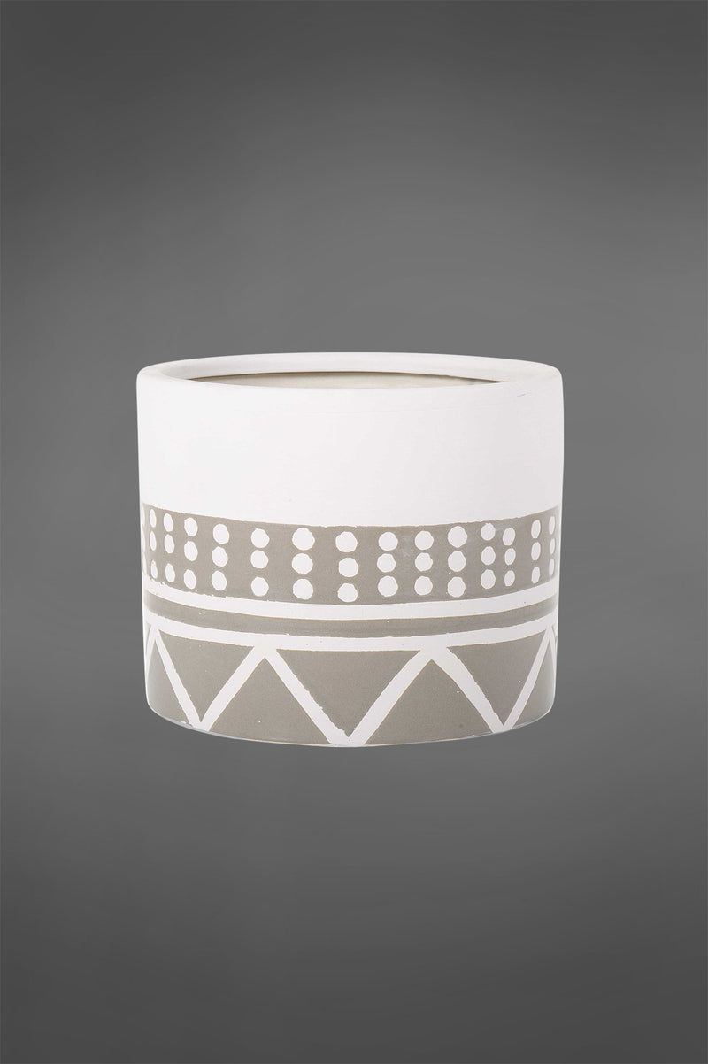 Nevada Pot Small - White/Grey - 15cm Tall Cylindrical Glazed Ceramic Pot with Tribal Pattern