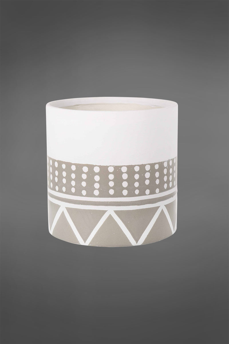 Nevada Pot Large - White/Grey - 20cm Tall Cylindrical Glazed Ceramic Pot with Tribal Pattern