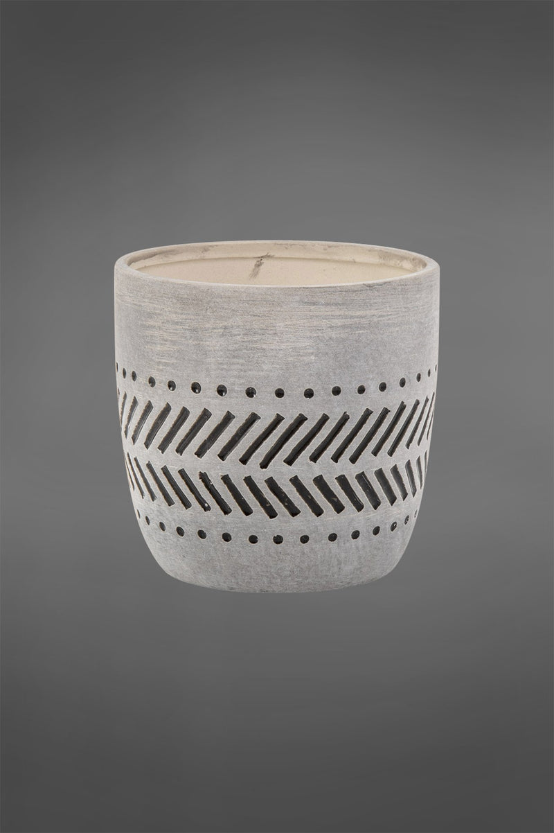 Canyon Pot Small - Black/Light Grey - 11cm Tall Glazed Ceramic Planter with Ethic Pattern