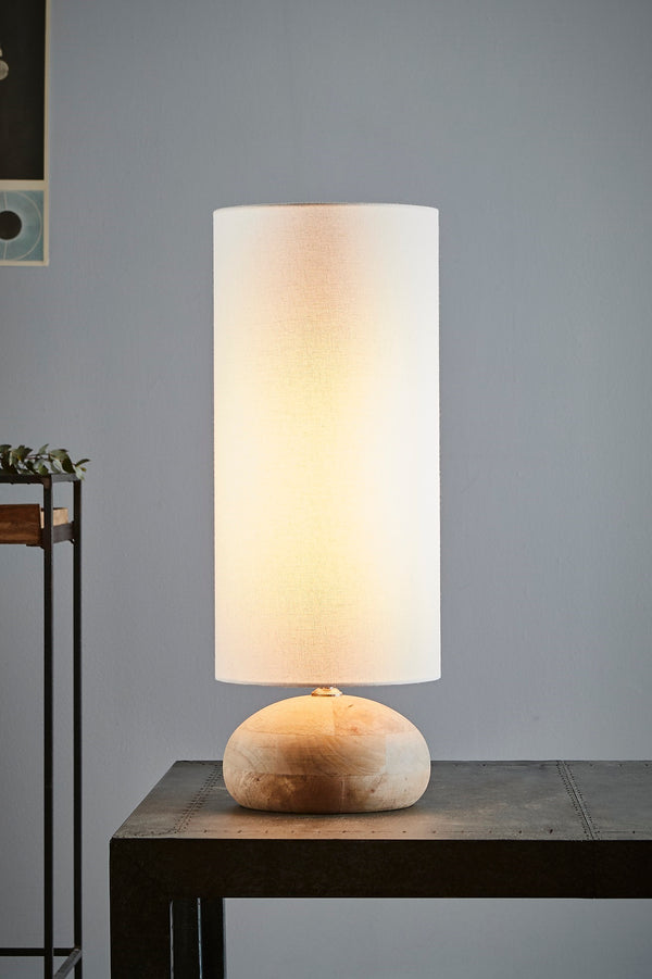 Pebble Small - Natural - Turned Wood Table Lamp