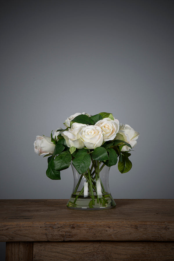 Rose - White - 25cm Tall Artificial Flowers in Water in Glass Vase