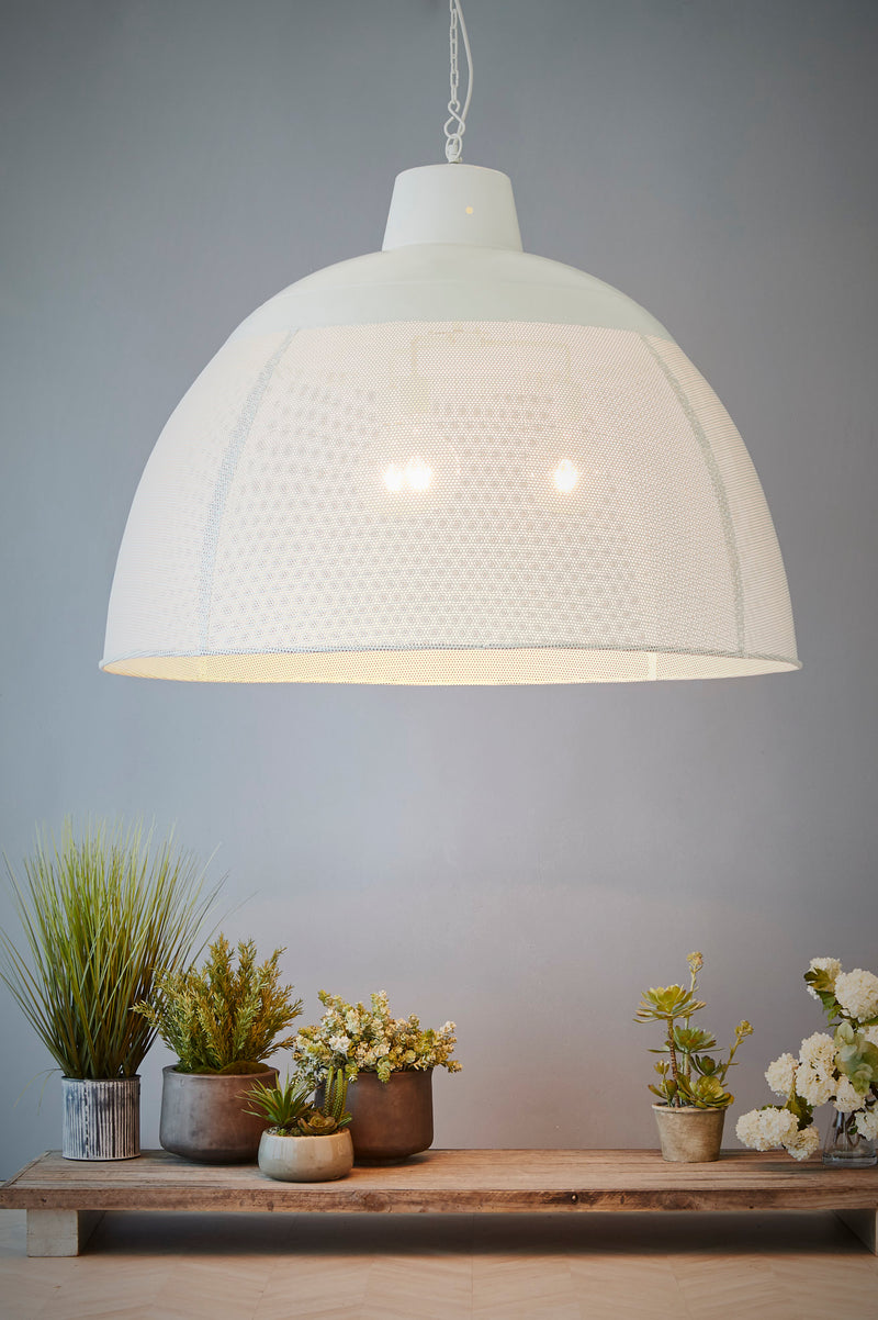 Riva Extra Large - Matt White - Perforated Iron Dome Pendant Light