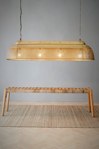 Riva Extra Long - Antique Brass - Perforated Iron Elongated Pendant Light
