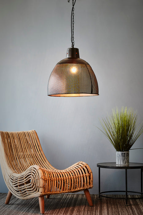 Riva Medium - Black/Gold - Perforated Iron Dome Pendant Light