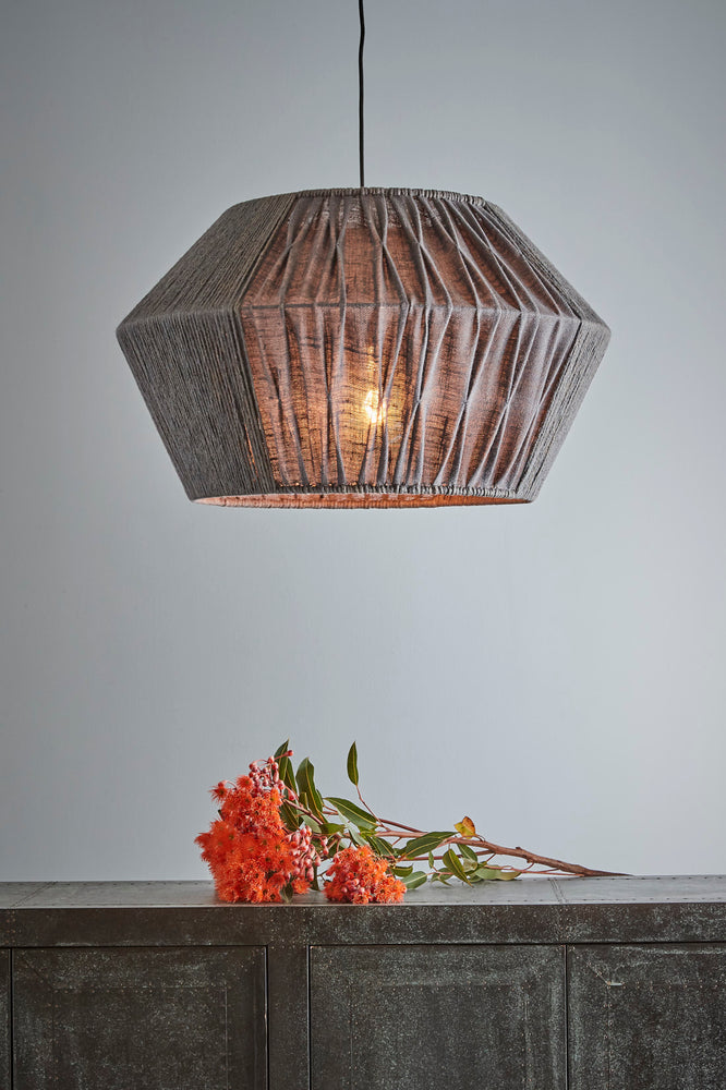 Riga - Warm Grey - Rope And Jute Saucer Pendant Light