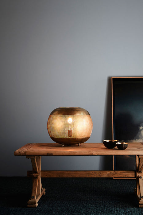 Riva Table - Antique Brass - Perforated Iron Ball Table Lamp