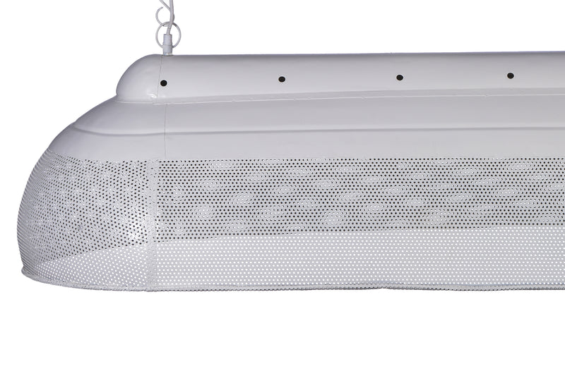 Riva Extra Long - Matt White - Perforated Iron Elongated Pendant Light