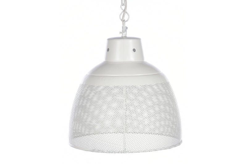 Riva Large - Matt White - Perforated Iron Dome Pendant Light