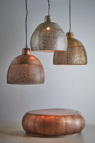 Riva Large - Antique Copper - Perforated Iron Dome Pendant Light