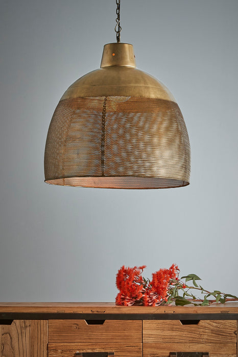 Riva Large - Antique Brass - Perforated Iron Dome Pendant Light