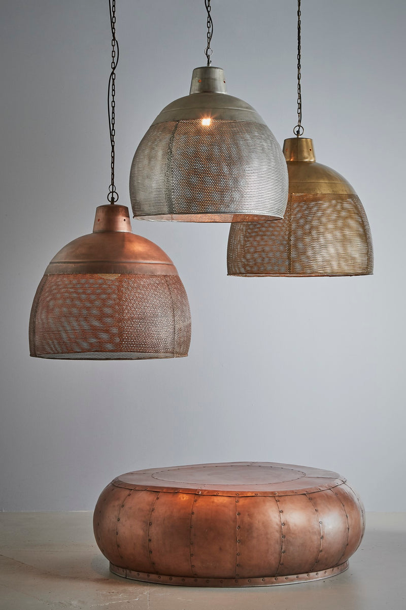 Riva Large - Zinc - Perforated Iron Dome Pendant Light