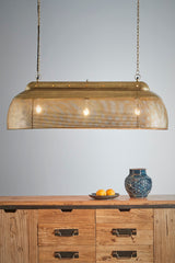 Riva Long - Antique Brass - Perforated Iron Elongated Pendant Light