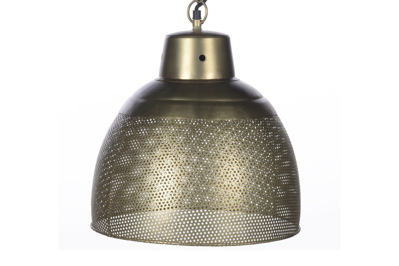 Riva Small - Antique Brass -  Perforated Iron Dome Pendant Light