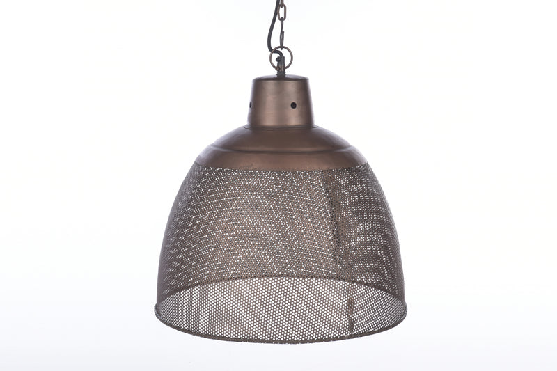 Riva Medium - Antique Copper - Perforated Iron Dome Pendant Light